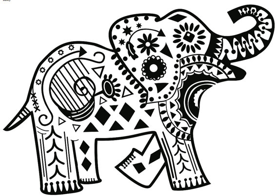 Vinyl Decal : Mandala Elephant Design