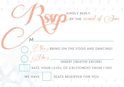 RSVP Card for Seashore Wedding Invitations