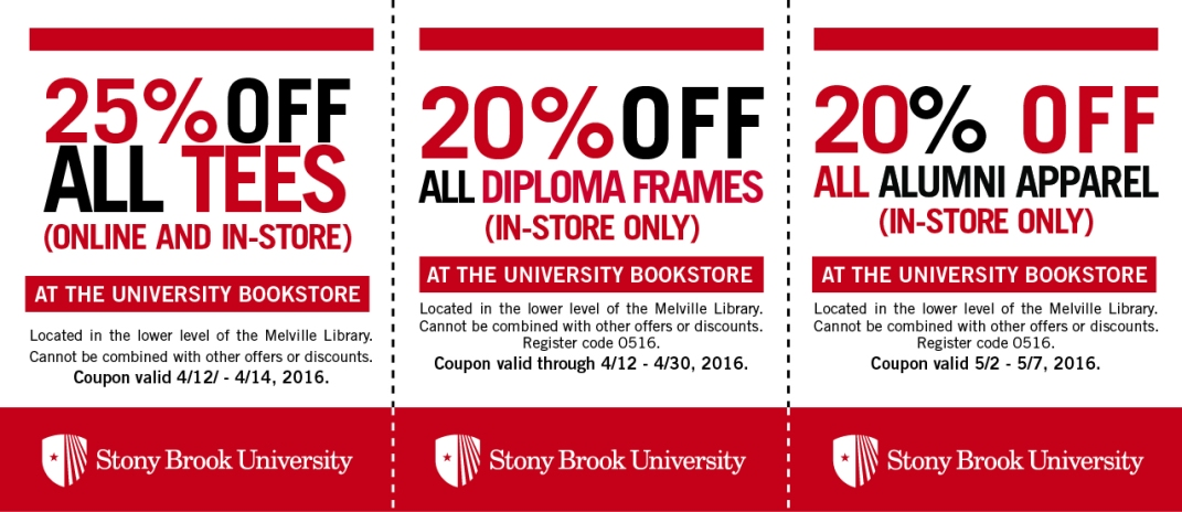 Coupons for Stony Brook University Bookstore