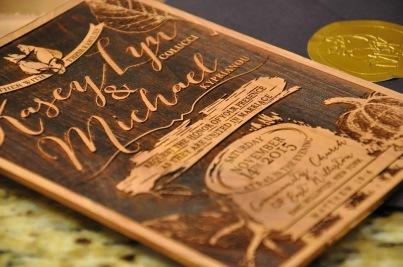 Reverse engraved cedar wedding invitations