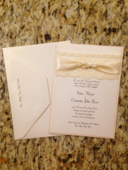 Classic shimmer and Lace ivory wedding invitations with Ribbon