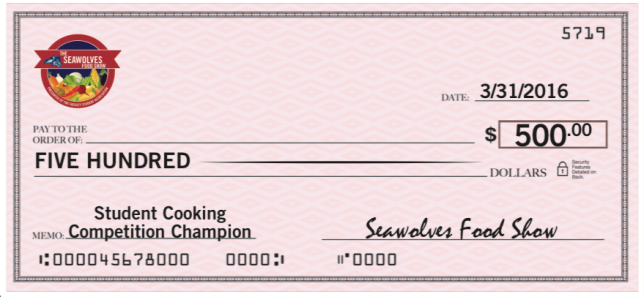 Oversized Check for Cooking Competition Winner