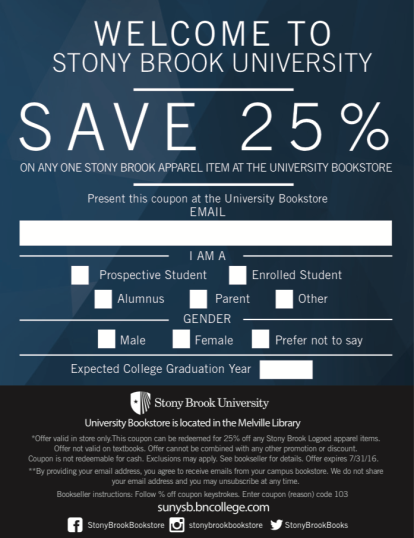 Email Form Coupons for Stony Brook University Bookstore