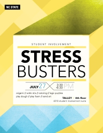 Event Flyer for Student Involvement Finals Destress Events at NC State